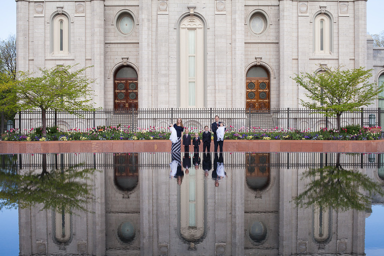 Family Portrait at the reflection pool Temple Square Utah