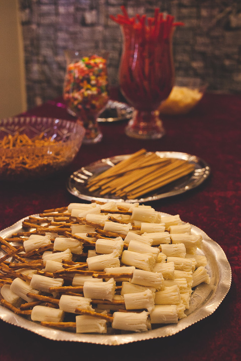 String cheese and pretzels broom sticks