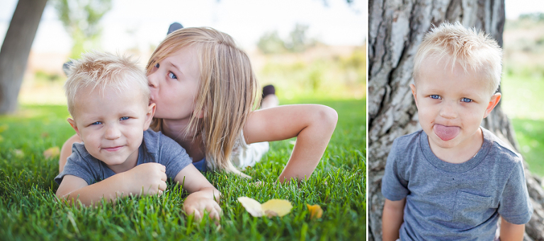 Bother sister and silly boy portrait
